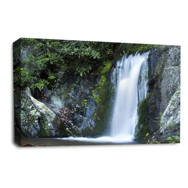 Waterfall Wall Art Picture Forest Wood Rocky White Grey Black Print